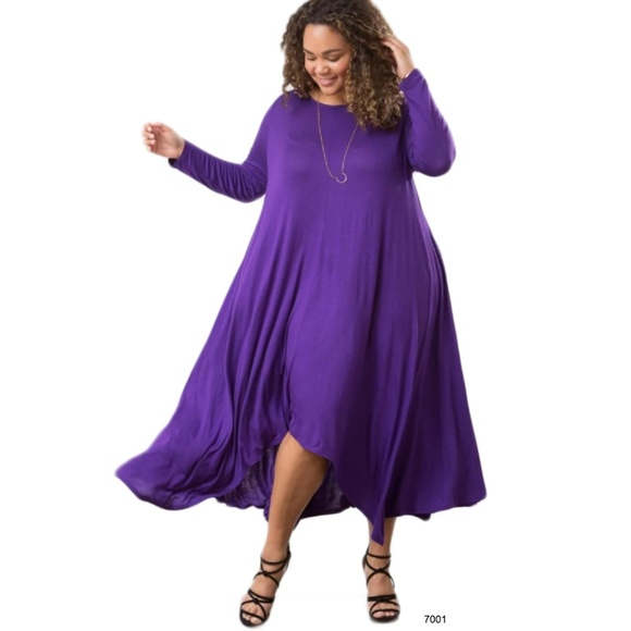 Purple Asymmetrical Drape Pocket Dress Plus Size Boutique